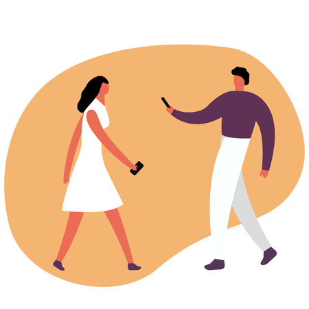 Young man and woman. Caucasian millennial boy and attractive red-haired girl with phone, interacting on social media, wearing city clothing and accessories. Vector flat style cartoon illustration. Male and female cartoon characters chatting or texting on their smartphones. Man and woman use mobile phones and gadgets to talk each oter by Mobile messenger. Eps10 Иллюстрация