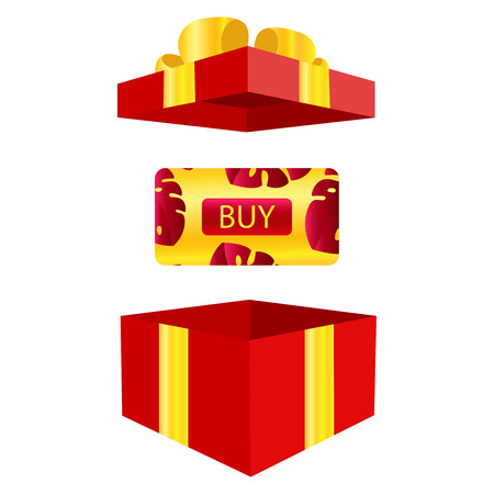 Vector of elegant gift vouchers with realistic red bows, gift boxes, toys, ribbons. Festive background for design of gift cards, coupons and holiday certificates. Gift certificate, Concept Voucher, Coupon, Reward or Gift card template with sparkling twinkling. Gift bonus, ticket, flyer. Illistration icon eps10 Иллюстрация