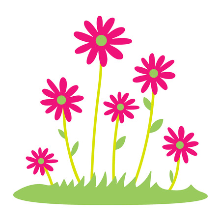 Colorful spring daisy flowers Vector illustration. grass and wild flowers isolated background. Spring grass border with early spring flowers and butterfly isolated on white background. Garden bed. Springtime design element. Vector eps 10.