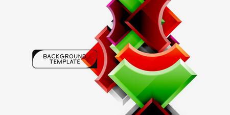Geometrical 3d shapes background. Vector illustration