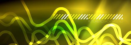 Shiny neon lights background, techno design, modern wallpaper for your project, vector illustration Иллюстрация