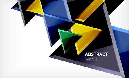 Flying triangles compostion geometric background. Vector illustration Illustration