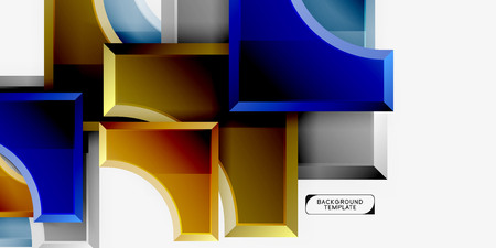 3d futuristic shapes vector abstract background made of glossy pieces with light effects
