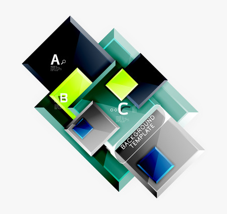 Geometrical design squares abstract banner, glossy shiny effects Иллюстрация
