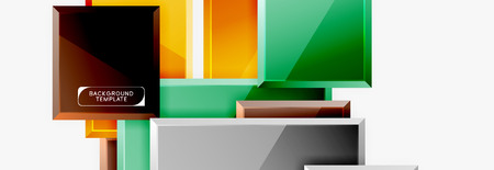 Square geometric composition, vector blocks background 向量圖像