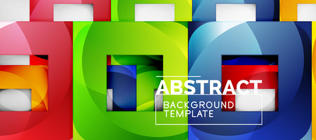 Square background, abstract squares on grey, business or techno template. Vector illustration Çizim