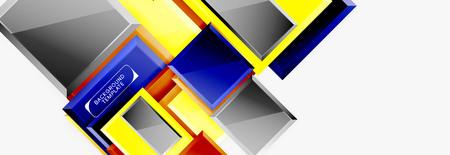 Square geometric composition, vector blocks background Illusztráció