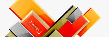 Geometrical design squares abstract banner, glossy shiny effects. Vector geometric minimal template