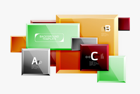 Banner abstracto de cuadrados de diseño geométrico, efectos brillantes brillantes. Plantilla mínima geométrica vectorial