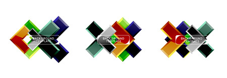Arrow and square design abstract logo or banner collection. Modern geometrical design Illustration