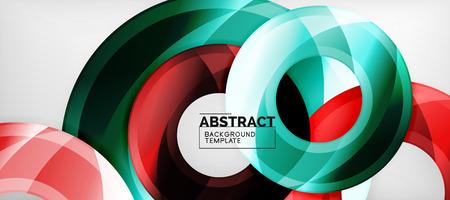 Glossy circles geometric background, vector illustration