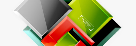 Geometrical design squares abstract banner, glossy shiny effects 向量圖像