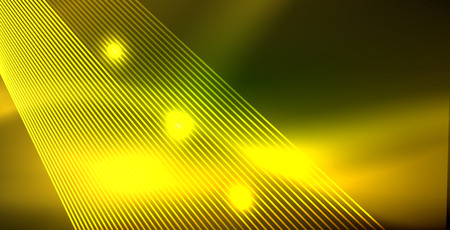 Neon glowing wave, magic energy and light motion background. Vector wallpaper template Иллюстрация