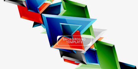 Minimal geometrical triangles with 3d effect abstract background template, vector modern minimal design Illustration