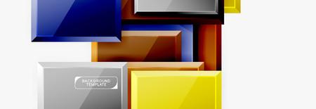 Square geometric composition, vector blocks background Иллюстрация