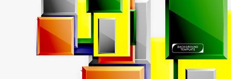 Square geometric composition, vector blocks background Ilustrace
