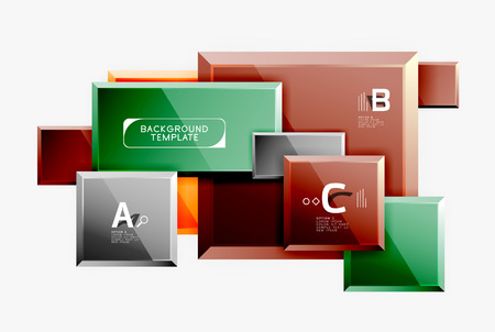 Geometrical design squares abstract banner, glossy shiny effects Illustration