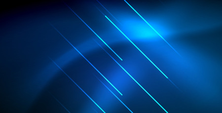 Neon glowing techno lines, blue hi-tech futuristic abstract background template with lights