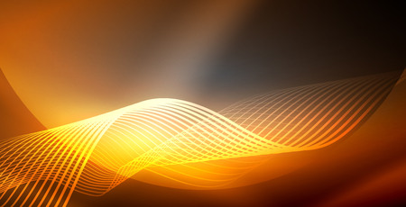 Neon lines shiny glowing background, vector futuristic techno template 向量圖像