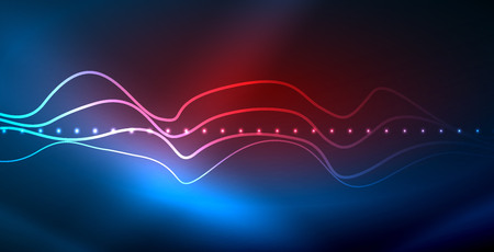 Glowing abstract wave on dark, shiny motion, magic space light. Vector techno abstract background, blue color Stock Illustratie