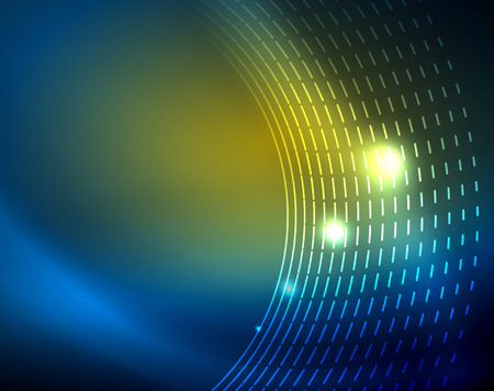 Blue neon circles, abstract circular lines. Glowing circle vector abstract pattern background