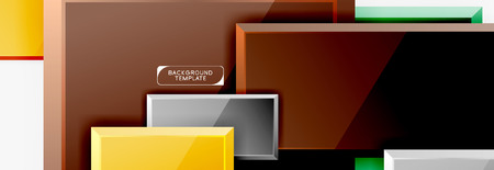 Square geometric composition, vector blocks background Ilustracja