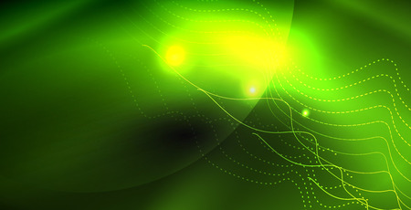 Glossy shiny glowing neon waves, magic space concept template