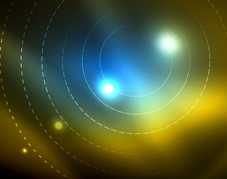 Shiny circles glowing abstract background. Vector illustration Vettoriali