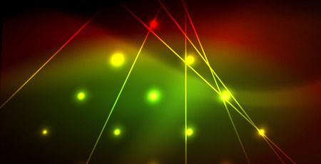 Neon glowing wave, magic energy and light motion background. Vector wallpaper template Vector Illustration