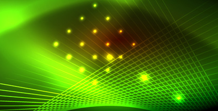 Neon glowing wave, magic energy and light motion background. Vector wallpaper template Stock Illustratie