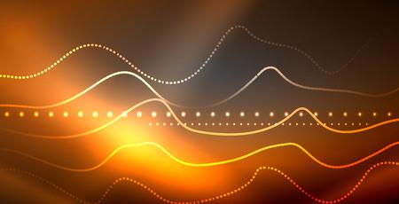 Neon lines shiny glowing background, vector futuristic techno template Stock Illustratie