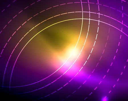 Neon circles abstract background Illustration