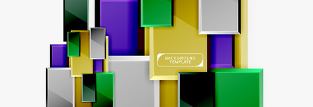 Square geometric composition, vector blocks background Illustration