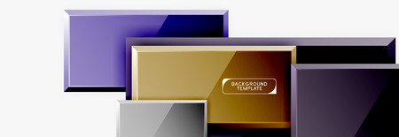 Square geometric composition, vector blocks background Illustration