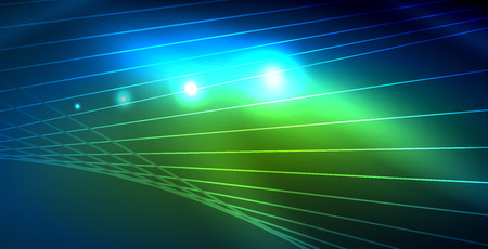Color neon lights with waves abstract background. Vector illustration Иллюстрация