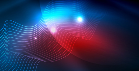 Color neon lights with waves abstract background. Vector illustration 写真素材 - 122880736