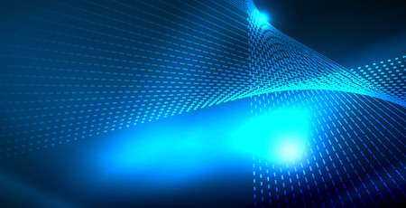 Color neon lights with waves abstract background. Vector illustration 写真素材 - 122841141