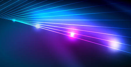 Color neon lights with waves abstract background. Vector illustration 写真素材 - 122841163