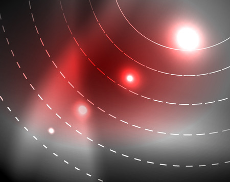 Dark space with neon color glowing lights abstract background. Vector techno circles template