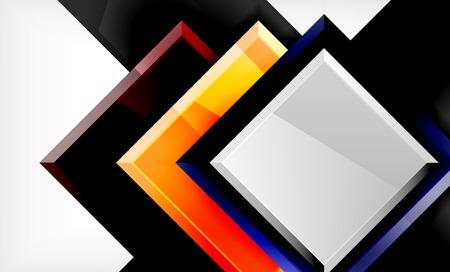 Bright colorful square shape blocks geometrical background, vector modern template Çizim