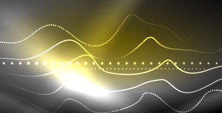 Neon lines shiny glowing background, vector futuristic techno template Illustration