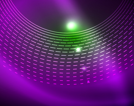 Neon circles abstract background, vector template Çizim