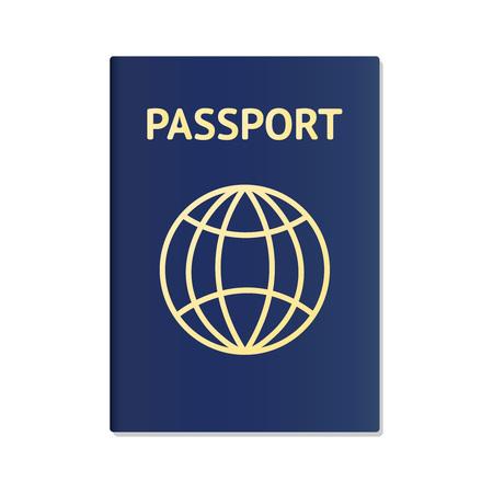 Realistic international passport blue cover template. Passport document ID. International pass for tourism travel. Emigration passport citizen ID with globe. Vector illustration icon Illustration
