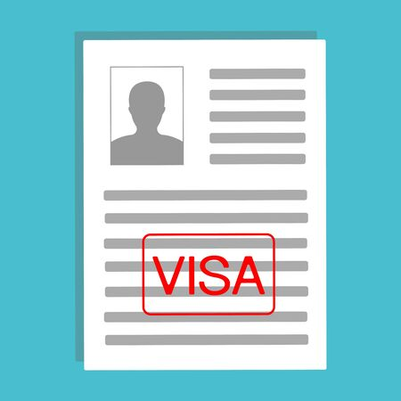 approved visa application, flat design. Documents with personal data vector illustration, flat cartoon paper document stack with user profile data and photo, concept of interview job, qualification test evaluation. document with signature and approval stamp, concept of paperwork, business doc. Иллюстрация