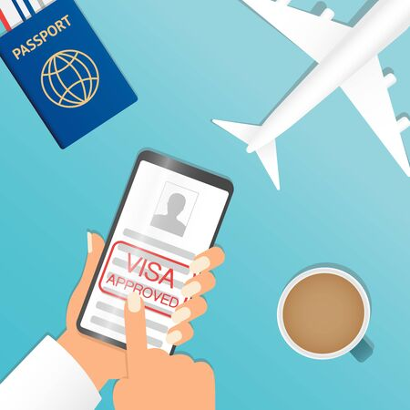 Hand holding black smartphone and finger touch on visa approved blank or work permit, screen on blue background. Human using mobile phone, Vector illustration flat cartoon design concept. Passport and smartphone with boarding pass ticket. Flat design. Airplane. Travel art design of summer vacation concept.