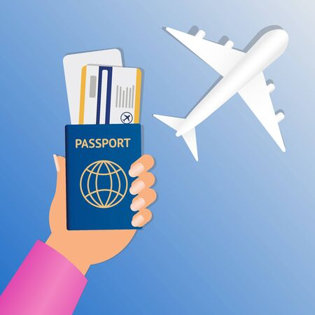 Hand of stewardess with passport and air ticket on round blue background. Business Hand Holding Passport And Tickets Vector illustration. Air travel banner. Passport - vacation concept design. Banner with airplane and vacation tickets. eps10