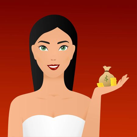 Girl or female holding showing money, cash or currency notes bag with dollar sign and gesture hand, presenting something to copy space. Modern lifestyle, business and finance concept in cartoon.