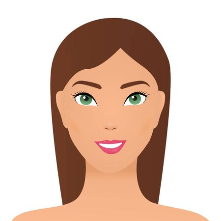 attractive asian woman, concept skin care image on white background. Summer girl portrait. Asian woman smiling happy. Illustration vector eps10