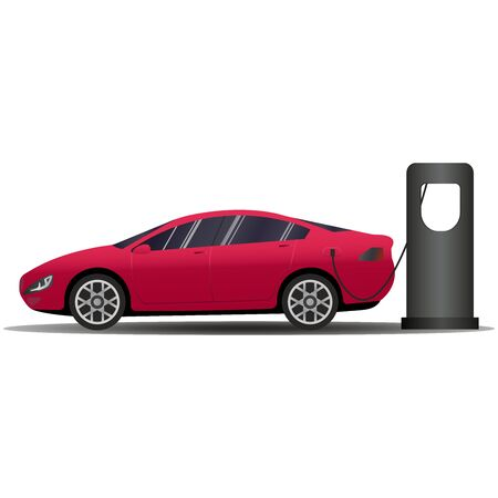 Red Hot European Style Sports-Car. Vector banner with electric car and charging station. Vector illustration comparing electric versus gasoline car suv.