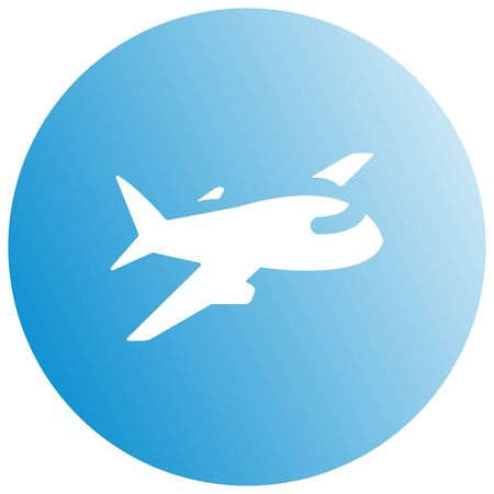 Airplane trendy icon. Plane on a blue circle. Travel background blue aircraft and place for your text. Vector Illustration.